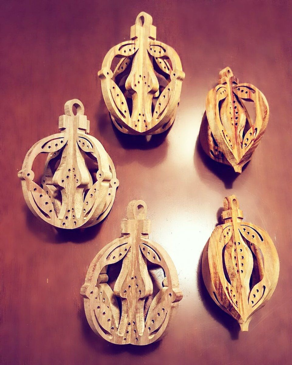 Elegant Christmas Tree Ornaments Wooden Handmade